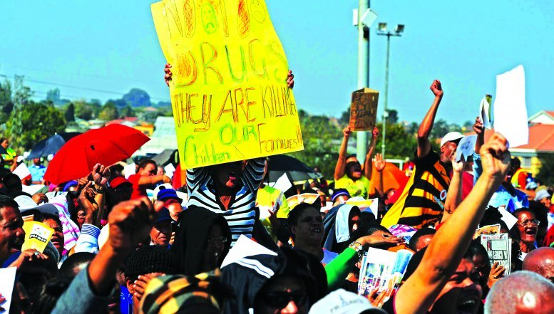 The community of Eldorado Park protesting against the scourge of drug dealing that used to take place at Lolly Lounge in the area.