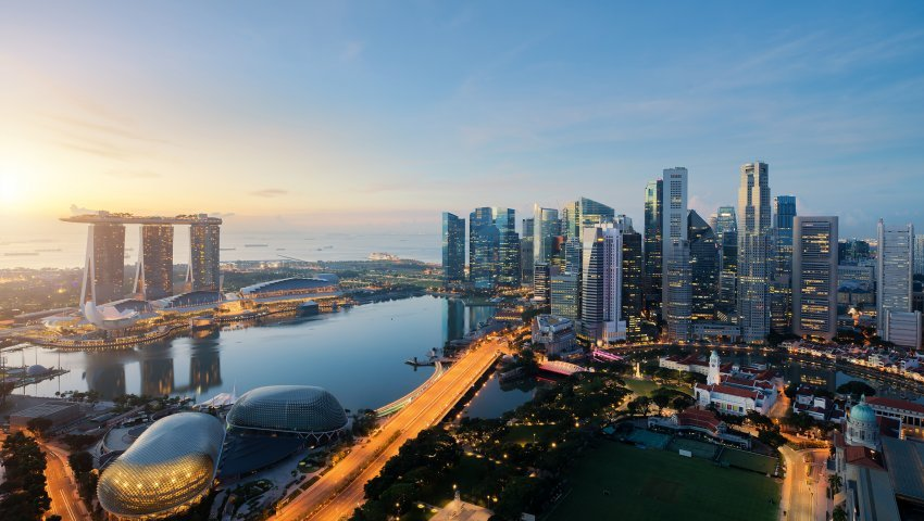 Singapore business district and city