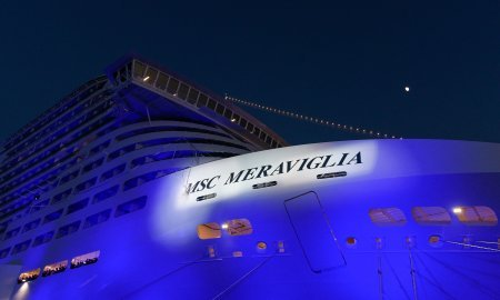 The bottle smashes on the hull to officially christen MSC Meraviglia.jpg