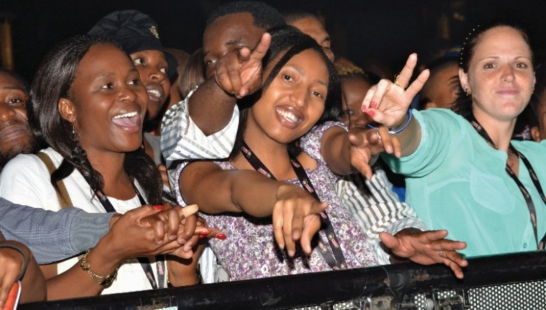 Partygoers celebrating music at this year's Hansa Festival of Legends in Newtown, Joburg.