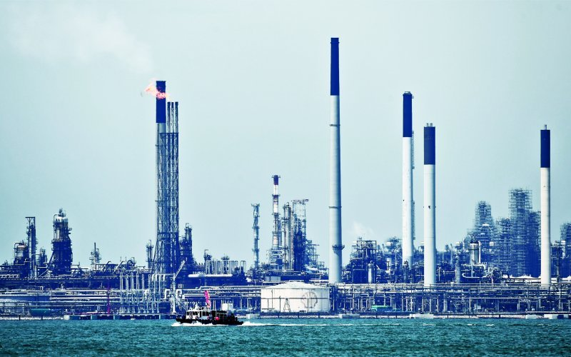The Bukom Shell refinery off Singapore