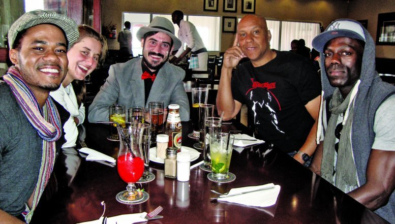 Cast members of theatrical play The Brothers Size Rodrick Covington, Timothy Bond, Sam Encarnación with comedia Deep Fried Man and a friend at Nambitha.