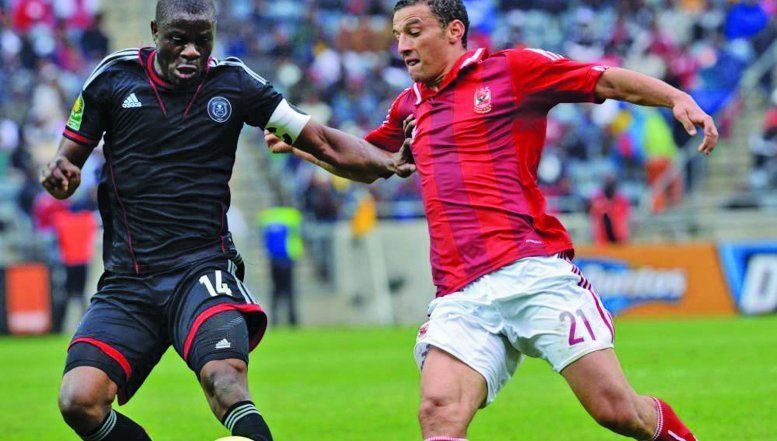 Orlando Pirates playing against Al Ahly in Caf Champions League.