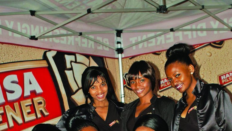 Hostess at the Hansa Party in Soweto, Standing Dawn Bekwa, Dineo Satekge and Refilwe Sebothoma, sitting Sibongile Mahlangu, Masego Mothibenyane and Tshepiso Gawu.