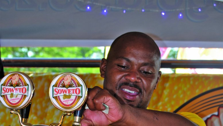 Mandla Mbatha, bartender at Soweto Gold beer.
