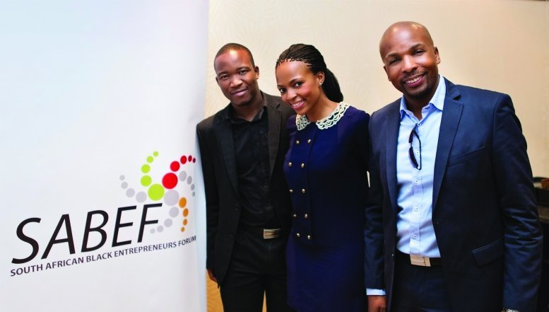 South African Black Entrepreneur Forum National Executive Director, Matsi Modise with Sfiso Msiza, National Operations Director and founding member, Lebo Gunguluza.