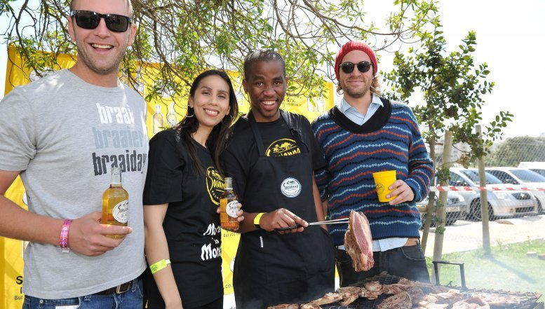 Savanna braai master, Oberon Moolman; Jan Braai; Pierre Greeff and Savanna Junior Brand Manager Lizanne Peters