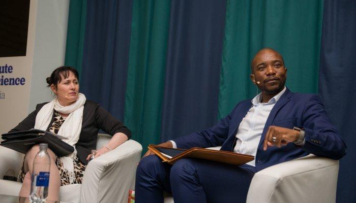 Mmusi Maimane, flanked by GIBS Dean, Prof. Nicola Kleyn