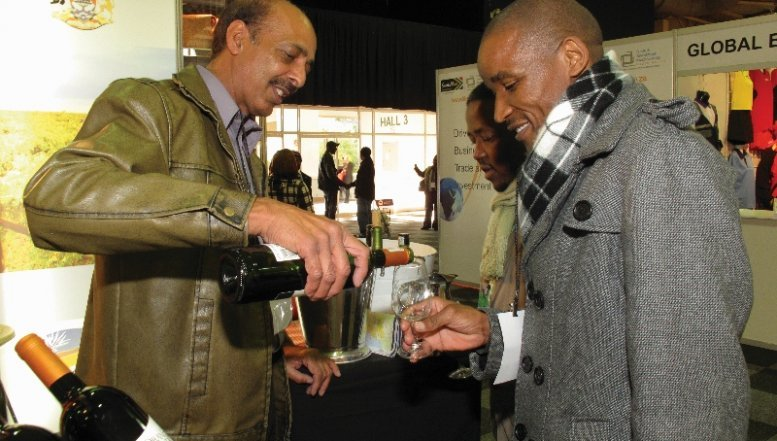 A wine trader at Africa Big Seven Food and Beverage Exhibition.