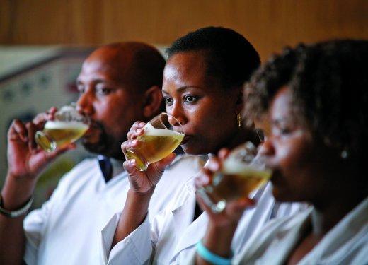 Brewers tasting beer