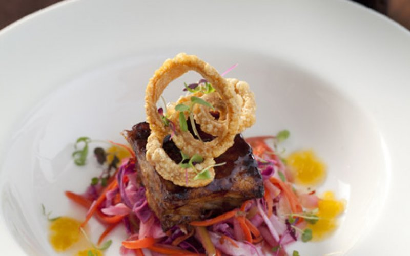 Clos Malverne pork belly with pickled coleslaw.