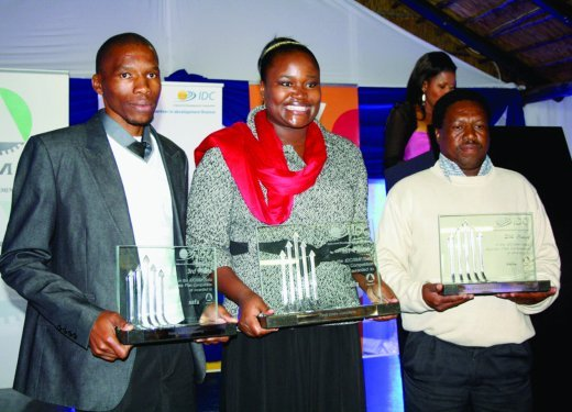 Winners of the IDC, BMF, Sefa Business Plan Competition. Third prize winner, Vusi Sibisi; first prize winner, Xoliswa Qotyana and second prize winner, Daniel Hadebe..jpg