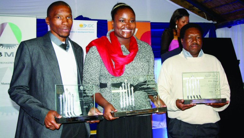 Winners of the IDC, BMF, Sefa Business Plan Competition. Third prize winner, Vusi Sibisi; first prize winner, Xoliswa Qotyana and second prize winner, Daniel Hadebe.