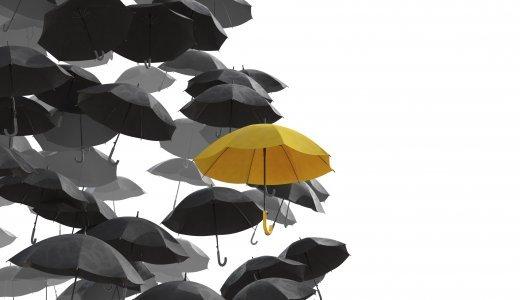 Different umbrella in yellow
